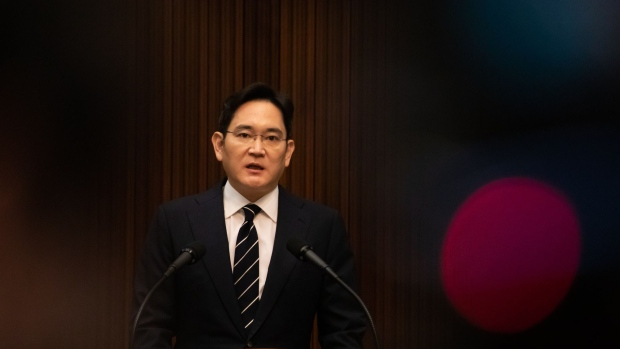 Jay Y. Lee, co-vice chairman of Samsung Electronics Co., speaks during a news conference in Seoul, South Korea, on Wednesday, May 6, 2020. Lee apologized, after a recommendation by Samsung's new compliance committee to do so, over causing problems in succession and labor union issues.