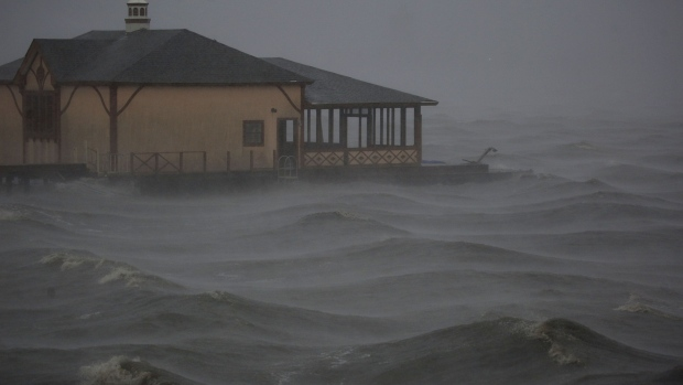 Hurricane Delta makes landfall in Lake Charles, Louisiana.