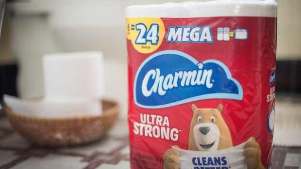 Procter and Gamble Co. Charmin brand toilet paper is arranged for a photograph taken in Hastings on Hudson, New York, U.S., on Saturday, Oct. 17, 2020. Proctor & Gamble Co. is scheduled to release earnings figures on October 20. Photographer: Tiffany Hagler-Geard/Bloomberg