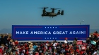 A V-22 Osprey aircraft, with U.S. President Donald Trump on board, arrives at a Make America Great Again rally in Prescott, Arizona, U.S., on Monday, Oct. 19, 2020. The Covid-19 pandemic is disproportionately affecting some crucial voters two weeks before Election Day, costing American lives and potentially hurting President Donald Trump, who has received overwhelmingly poor grades from Democrats and independent voters on his virus response. Photographer: Ash Ponders/Bloomberg