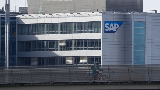 The SAP SE logo sits on an office building at the company's headquarter campus site in Walldorf, Germany, on Tuesday, Jan. 28, 2020. SAP, Europe's biggest software company, boosted its revenue and operating profit forecasts for 2020 after reporting fourth quarter income that met analyst estimates.