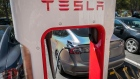A Tesla Inc. vehicle charges at a charging station in San Mateo, California, U.S., on Tuesday, Sept. 22, 2020.