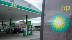 A company logo sits at a BP Plc petrol and refueling station in London, U.K., on Tuesday, Aug. 4, 2020.