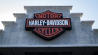 Signage is displayed outside a Harley-Davidson dealership in Oakland, California, U.S., on Thursday, July 16, 2020. Harley-Davidson Inc. is scheduled to release earnings figures on July 28. Photographer: David Paul Morris/Bloomberg
