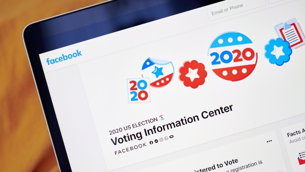 The 2020 Election Facebook page is displayed on a laptop computer in an arranged photograph taken in the Brooklyn borough of New York, U.S., on Monday, Oct. 12, 2020. Facebook Inc. is tightening its rules on content concerning the U.S. presidential election next month, including instituting a temporary ban on political ads when voting ends, as it braces for a contentious night that may not end with a definitive winner. Photographer: Gabby Jones/Bloomberg