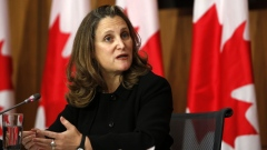 Chrystia Freeland speaks during an Ottawa news conference on Oct. 20.