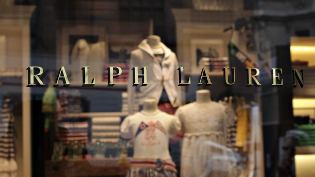 Ralph Lauren clothing sits on display inside a store on Madison Avenue in New York.