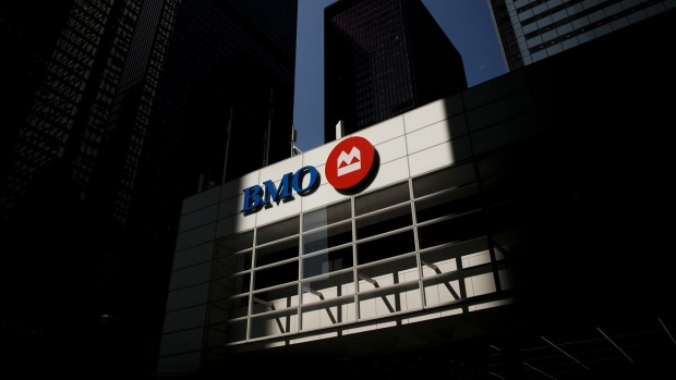 Bank of Montreal (BMO) signage is displayed on a building in the financial district of Toronto.