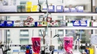 Laboratory equipment sits on shelves at the Moderna Therapeutics Inc. facility in Cambridge, Massachusetts.