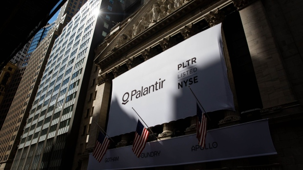 Palantir Technologies Inc. signage during the company's initial public offering (IPO) in front of the New York Stock Exchange (NYSE) in New York, U.S., on Wednesday, Sept. 30, 2020. Photographer:  Michael Nagle/Bloomberg