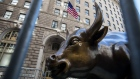 The Charging Bull statue stands near the New York Stock Exchange (NYSE) in New York, U.S.