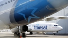 Air Transat aircraft sit on the tarmac at Toronto Pearson International Airport (YYZ) in Toronto, Ontario, Canada, on Wednesday, April 8, 2020. The airport is now averaging 200 flights per day, down from 1,200 before the Covid-19 pandemic, CTV News reported.