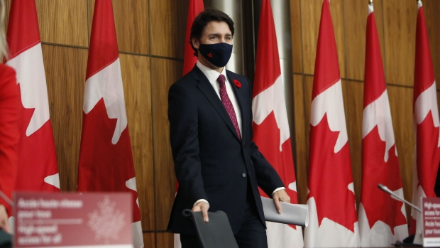 Justin Trudeau, Canada's prime minister, arrives to a news conference in Ottawa, Ontario, Canada, on Monday, Nov. 9, 2020. Trudeau unveiled C$750 million ($580 million) in additional funds to extend the reach of high-speed Internet to rural and northern communities in Canada.