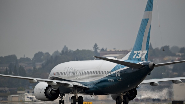 The Boeing Co. 737 Max airplane taxis after landing during a test flight in Seattle, Washington, U.S., on Wednesday, Sept. 30, 2020. Federal Aviation Administration chief Steve Dickson, who is licensed to fly the 737 along with several other jetliners from his time as a pilot at Delta Air Lines Inc., will be at the controls of a Max that has been updated with a variety of fixes the agency has proposed and may soon make mandatory.