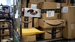 Amazon.com Inc. boxes sit at a United States Postal Service (USPS) facility in Fairfax, Virginia, U.S., on Tuesday, May 19, 2020.