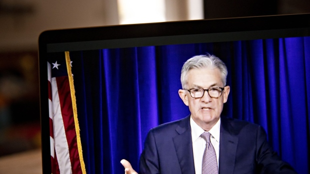 Jerome Powell, chairman of the U.S. Federal Reserve, speaks during a virtual news conference in Arlington, Virginia, U.S., on Thursday, Nov. 5, 2020. Federal Reserve officials kept monetary policy in a holding pattern, leaving interest rates near zero and making no change to asset purchases, as the final results of U.S. presidential and congressional elections remain uncertain. Photographer: Andrew Harrer/Bloomberg