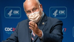 Robert Redfield, director of the Centers for Disease Control and Prevention (CDC), speaks during a news conference at the CDC Roybal Campus in Atlanta, Georgia, U.S., on Wednesday, Oct. 21, 2020.