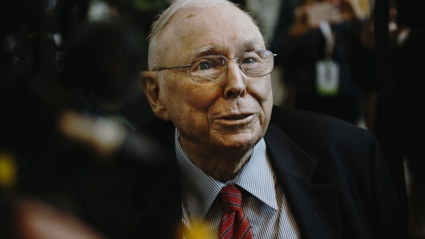 Charlie Munger, vice chairman of Berkshire Hathaway Inc., speaks to members of the media during a shareholders shopping day ahead of the Berkshire Hathaway annual meeting in Omaha, Nebraska, U.S., on Friday, May 3, 2019. Buffett's Berkshire Hathaway agreed earlier this week to make the investment in Occidental to help the oil producer with its $38 billion bid for Anadarko Petroleum Corp.
