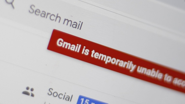 An error message on the Gmail.com homepage in London, England, U.K., on Monday, Dec. 14, 2020. Services from Alphabet Inc. are experiencing widespread outages around the world, preventing people from accessing Gmail, YouTube and other products.