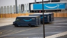 Amazon and trailers are parked outside of a delivery station. Photographer: Michael Nagle/Bloomberg