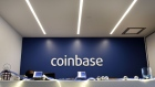 Signage is displayed at the front desk of the Coinbase Inc. office in San Francisco, California, U.S., on Friday, Dec. 1, 2017. Coinbase wants to use digital money to reinvent finance. In the company's version of the future, loans, venture capital, money transfers, accounts receivable and stock trading can all be done with electronic currency, using Coinbase instead of banks.