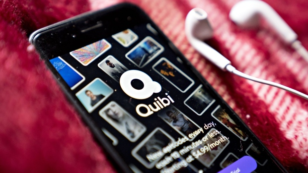 The Quibi short-form mobile video service application is displayed on a smartphone in an arranged photograph taken in Arlington, Virginia.