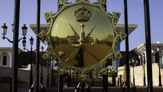A Royal seal sits on the entrance gates to the Al Alam Palace, a royal residence of Sultan Qaboos of Oman, in Muscat, Oman, on Sunday, May 6, 2018. XXX ADD SECOND SENTENCE HERE XXX.