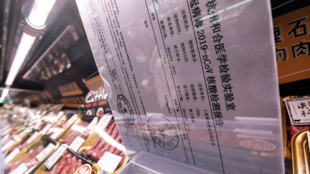 A Covid-19 test certification at the meat section. China's focus on food packaging began after the country singled out imported salmon as a possible culprit for a Beijing resurgence.