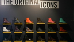 Shoes on display inside the Dr. Martens store on Carnaby Street in London, U.K., on Wednesday, Jan. 20, 2021. Bootmaker Dr. Martens, known for its air-cushioned soles, is considering an equity value of 4 billion pounds ($5.4 billion) or more in an initial public offering.