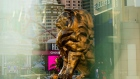 A lion statue stands in front of the MGM Grand Hotel and Casino in Las Vegas, Nevada, U.S., on Sunday, July 26, 2020. MGM Resorts International is scheduled to releasing earnings figures on July 30. Photographer: Roger Kisby/Bloomberg