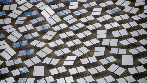 Solar panels stand at the Ivanpah Solar Electric Generating System in the Mojave Desert near Primm, Nevada, U.S.