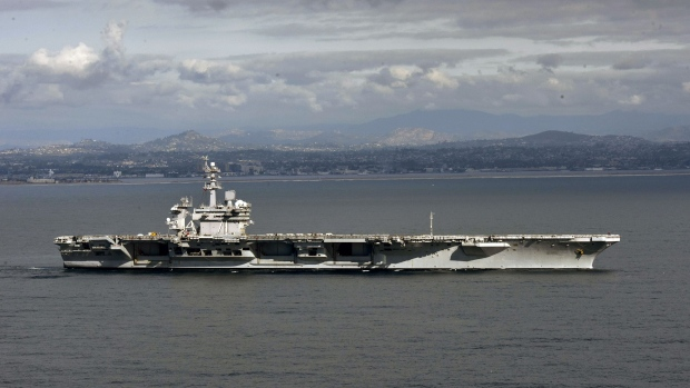 SAN DIEGO, CA - JANUARY 17: In this handout released by the U.S. Navy, The aircraft carrier USS Theodore Roosevelt (CVN 71) leaves its San Diego homeport Jan. 17, 2020. The Theodore Roosevelt Carrier Strike Group is on a scheduled deployment to the Indo-Pacific. (Photo by U.S. Navy via Getty Images)