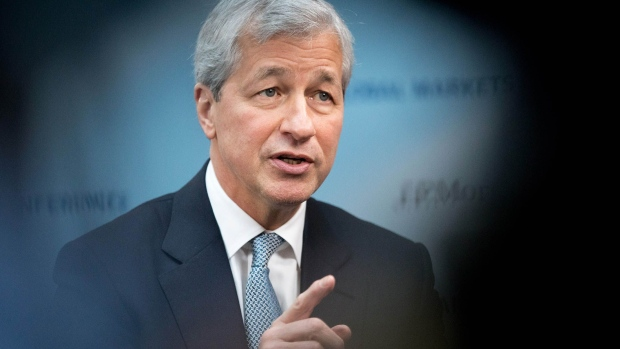 Jamie Dimon, chief executive officer of JPMorgan Chase & Co., gestures while speaking during a Bloomberg Television interview in Paris, France, on Thursday, March 9, 2017. Dimon said President Trumps economic agenda has ignited U.S. business and consumer confidence and he expects at least some of the administrations proposals to be enacted.