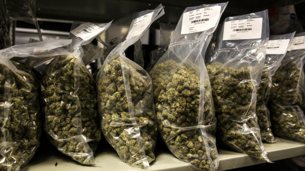 Packages of marijuana are seen on shelf before shipment at the Canopy Growth Corp. facility in Smith Falls, Ontario, Canada, on Tuesday, Dec. 19, 2017.