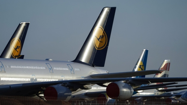 Deutsche Lufthansa AG passenger aircraft at Teruel Airport in Teruel, Spain, on Monday, Oct. 19, 2020. More than 8,100 planes sit idle around the world, or 31% of the global fleet, according to aviation database Cirium. Photographer: Paul Hanna/Bloomberg