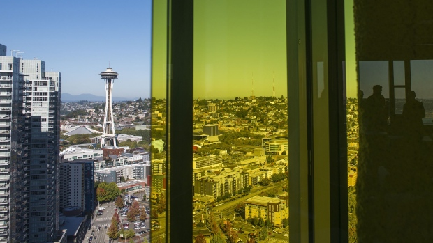 The Seattle Space Needle is seen in the city skyline from the Amazon.com Inc. offices after the company's product reveal launch event in downtown Seattle, Washington. Photographer: Daniel Berman/Bloomberg
