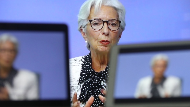 Christine Lagarde, president of the European Central Bank (ECB), speaks during a live stream video of the central bank's virtual rate decision news conference in Frankfurt, Germany, on a television screen arranged in Danbury, U.K., on Thursday, Oct. 29, 2020.