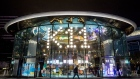 An entrance to the K11 Musea shopping mall, developed by K11 Group Ltd., a unit of New world Development Co., stands illuminated at night in Tsim Sha Tsui district of Hong Kong, China, on Sunday, Dec. 15, 2019. The K11 Musea opened amid months of anti-Beijing protests held back spending by tourists and locals alike. Photographer: Paul Yeung/Bloomberg
