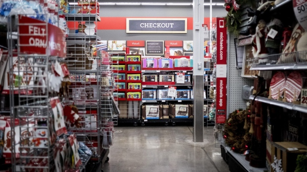 Crafting supplies are displayed for sale at a Michaels Cos Inc. store in Chicago, Illinois, U.S., on Tuesday, Nov. 28, 2017. Michaels Cos Inc. is scheduled to release earnings figures on November 30. Photographer: Christopher Dilts/Bloomberg