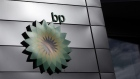 The BP Plc company logo at the entrance to the BP Pulse headquarters in Milton Keynes, U.K., on Tuesday, Feb. 9, 2021.