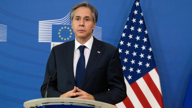 """Antony Blinken, U.S. secretary of state, speaks during a news conference with Ursula von der Leyen, president of the European Commission, not pictured, in the Berlaymont building in Brussels, Belgium, on Wednesday, March 24, 2021. Blinken said the Biden administration won't demand that its allies make a choice between the U.S. and China, offering the most cogent explanation yet for efforts to restore alliances after four years of """"America First."""""""