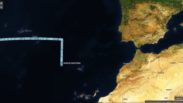 Course of Suezmax tanker Marlin Santorini on March 23-26