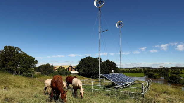 The Diffuse Energy turbines are used with solar panels at the farm. Photographer: Brendon Thorne/Bloomberg