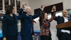 Gretchen Whitmer with Biden and Vice President Kamala Harris during their campaing in Michigan last year.