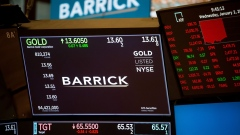 Monitors display Barrick Gold Corp. signage on the floor of the New York Stock Exchange (NYSE) in New York, U.S., on Wednesday, Jan. 2, 2019. U.S. stocks pared declines after a brutal start, with financial shares rebounding from a dismal December and crude staging a rally. Treasuries trimmed gains. Photographer: Michael Nagle/Bloomberg