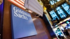 Goldman Sachs Group Inc. signage is displayed at the company's booth on the floor of the New York Stock Exchange (NYSE) in New York, U.S., on Tuesday, May 30, 2017. U.S. stocks halted a seven-day advance, while the dollar fluctuated as data showing a rebound in consumer spending offset a wider selloff in commodities. The euro slipped with equities in the region.