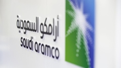 A Saudi Aramco logo sits on display during the Abu Dhabi International Petroleum Exhibition & Conference (ADIPEC) in Abu Dhabi, United Arab Emirates, on Tuesday, Nov. 13, 2018.