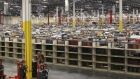 Merchandise sits on a shelving unit at the Amazon.com Phoenix Fulfillment Center in Goodyear, Arizona.