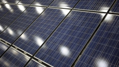 Solar panels designed for agricultural use are displayed at the National Farm Machinery Show in Louisville, Kentucky, U.S. on Friday, Feb. 14, 2020. The show offers a selection of cutting-edge agricultural products, equipment and services available in the farming industry. Photographer: Luke Sharrett/Bloomberg