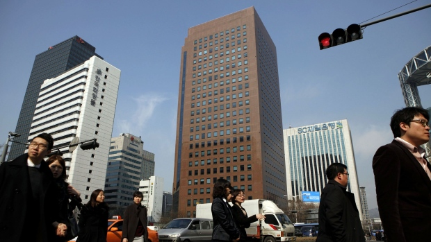 The YoungPoong Building, center, houses the Deutsche Bank AG offices in Seoul.